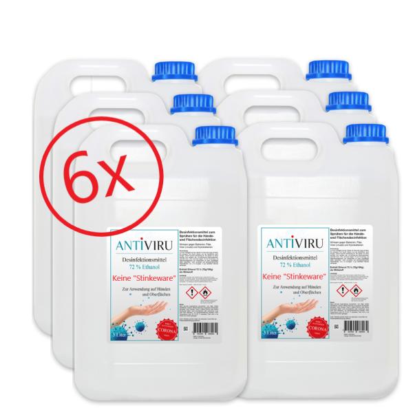 ANTiVIRU Hand- & Flächendesinfektionsmittel - keine Stinkeware - 6x 5 Liter Kanister