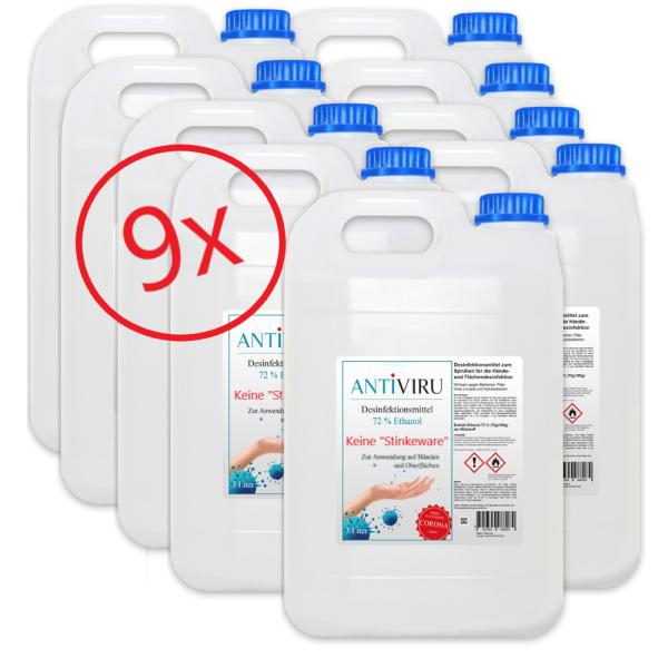 ANTiVIRU Hand- & Flächendesinfektionsmittel - keine Stinkeware - 9x 5 Liter Kanister